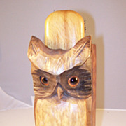 Cunning Vintage Hand Carved Hoot Owl Brush Holder - English - Red Tag Sale Item
