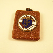 Knights of Columbus Goldstone Watch Fob - early 20th Century