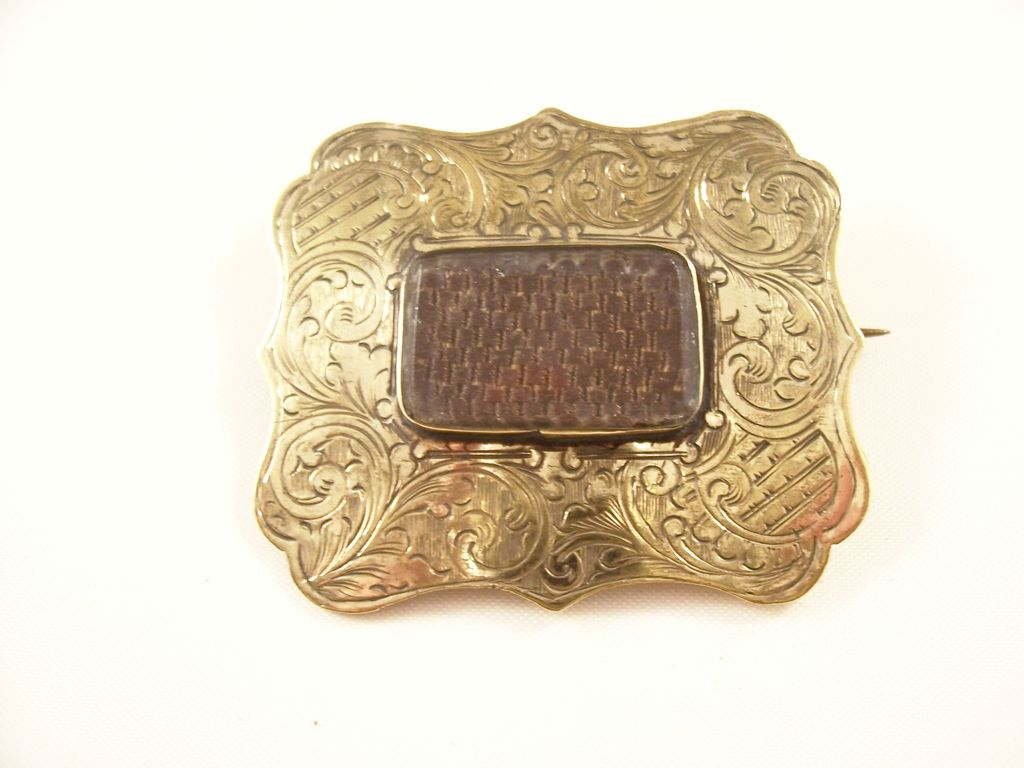 Interesting Victorian Hairwork Mourning Brooch with Unusual Mount - 1870