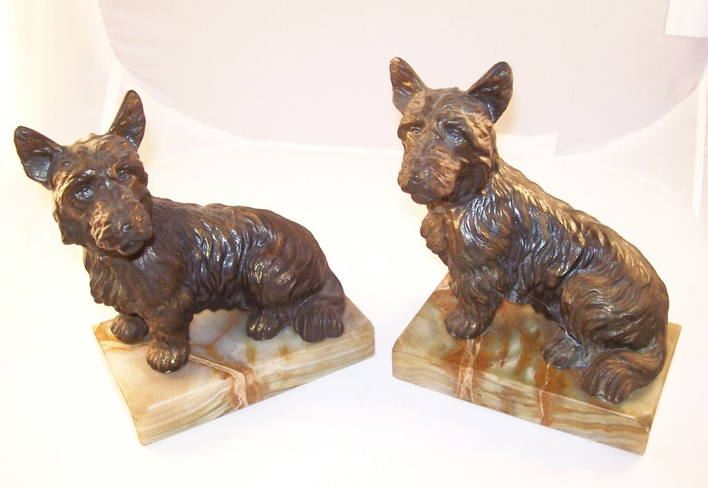 Pair of Vintage Scotty Scottie Dog Bookends on Green Marble Bases