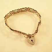 Vintage Sterling Gate Bracelet w/padlock clasp - English