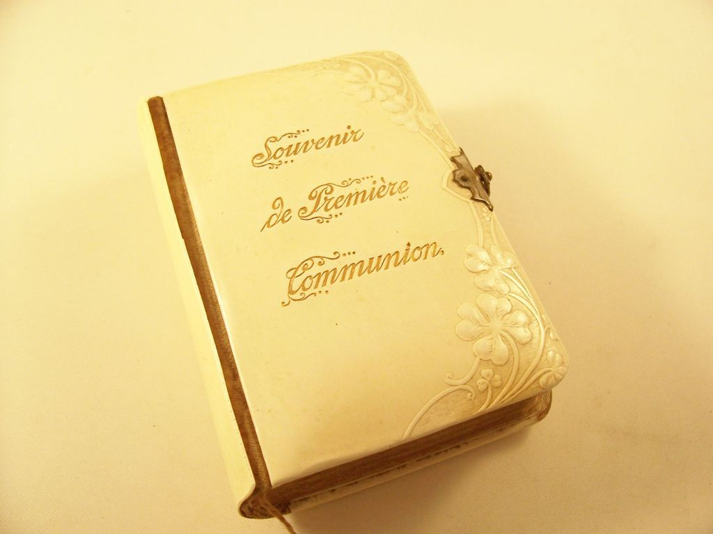 Sweet Catholic First Communion Celluloid Missal in French - New Orleans retailer