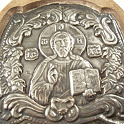 Vintage Greek Orthodox Silver Icon - Christ, 950 Silver