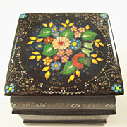 Vintage Russian Lacquer Box with Two Openings