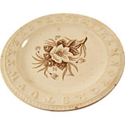 Victorian Brown Transferware child's ABC plate