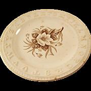 Victorian Brown Transferware child's ABC plate