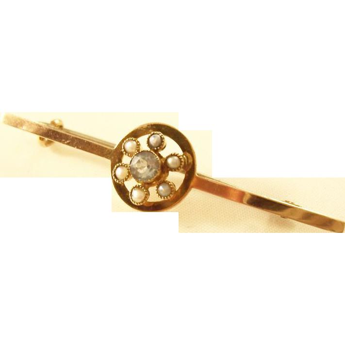 Edwardian 9 carat gold Bar Pin - Topaz & Natural Pearls