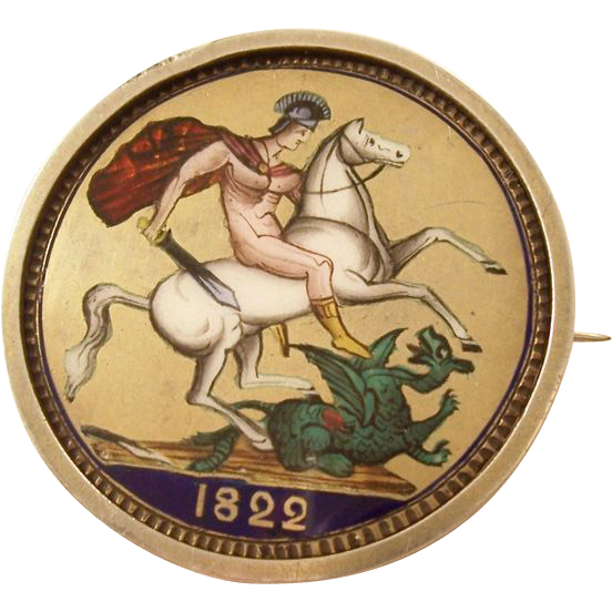 Fabulous Georgian Enamel Silver Crown Coin Brooch - George III - St. George & Dragon 1822