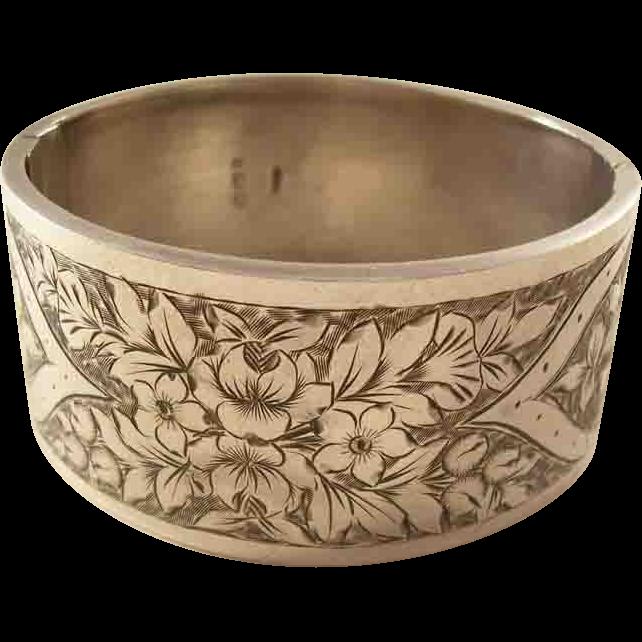 Lovely Victorian Sterling Silver Bangle Bracelet - Flowers, 1883