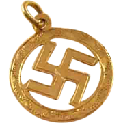 Vintage Good Luck Charm - 9 carat gold - English, Swastika