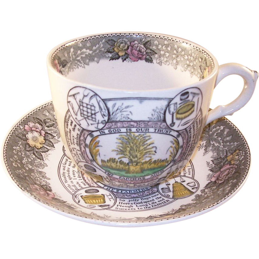 Antique Adams - The Farmers Arms - huge over sized Cup & Saucer - full color
