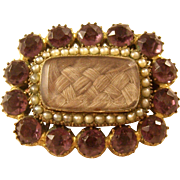 Early Victorian Second Mourning Brooch with Paste Amethysts and Seed Pearls