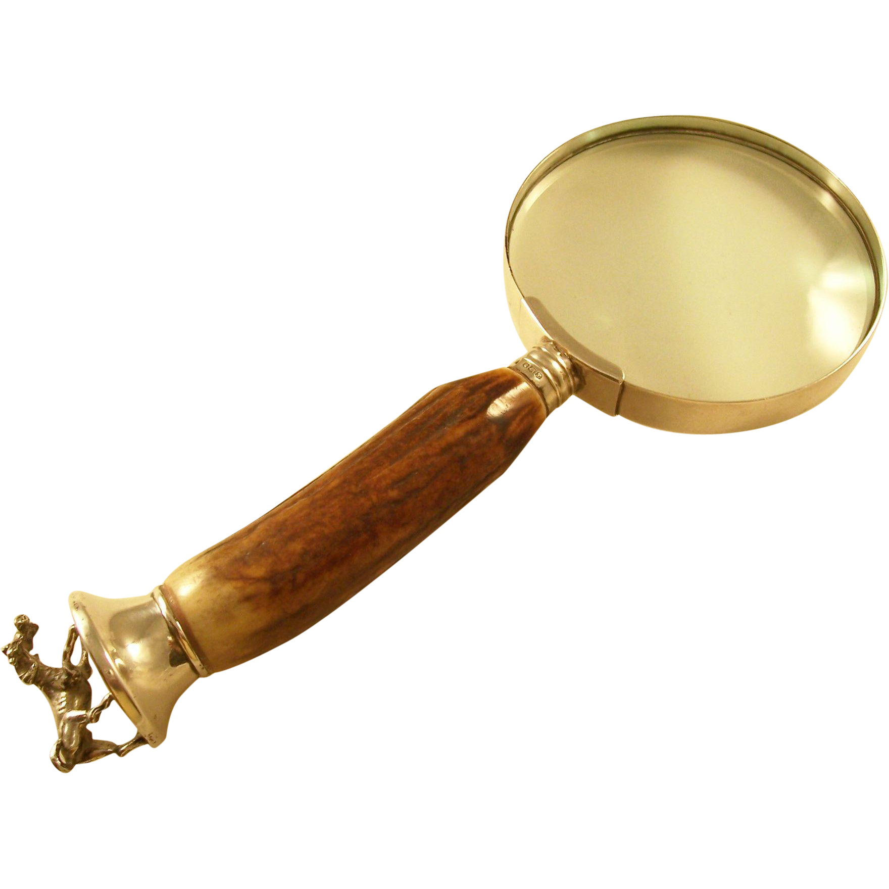 Stunning Vintage Magnifying Glass with Antler Handle, Figural Base and Sterling Silver Accents - English, 1941