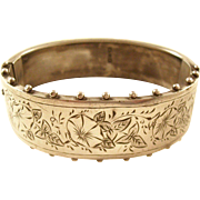 Antique Victorian Aesthetic Sterling Silver Bangle Bracelet - Chester, 1885