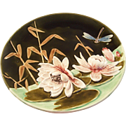 Lovely Vintage Majolica Plate featuring Lilies and Dragonfly