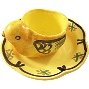 Charming Quimper Faience Egg Cup - Chicken