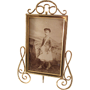 Lovely Antique Victorian Brass Photo Frame - Cabinet Card Size