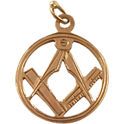 Vintage 9 carat gold Masonic charm or fob - English