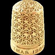 "Sweet Edwardian Sterling Silver Thimble - Engraved ""Xmas, 1904"""