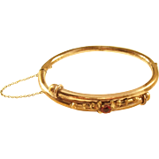 Handsome Gold Filled Victorian Over-Under Bangle Bracelet with Red Stone - English, ca. 1890