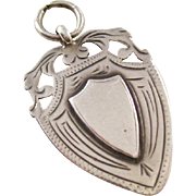 Sterling Silver Shield Watch Fob or Charm - English, 1921