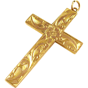Ornate Edwardian 9 ct gold cross pendant