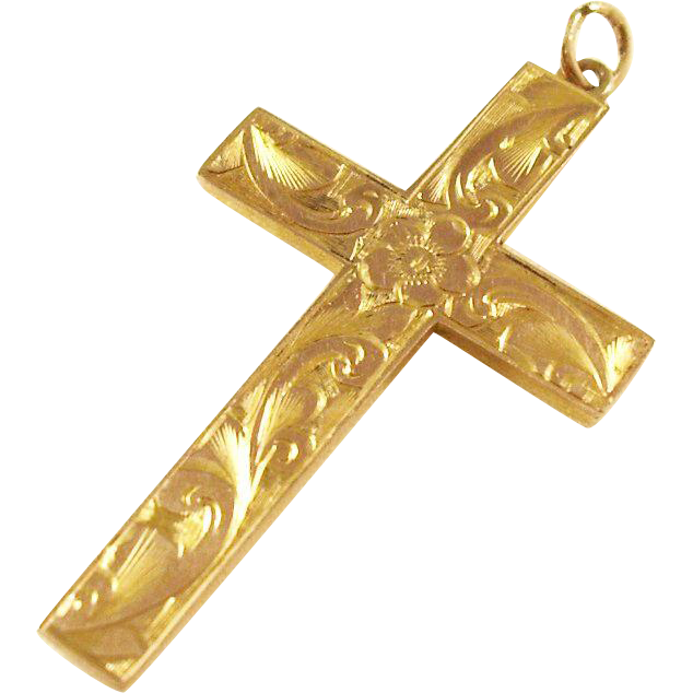 Ornate Edwardian 9 ct gold cross pendant
