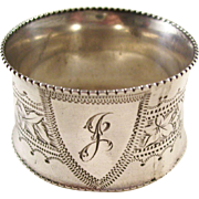 "Victorian Sterling Silver Napkin Ring - initial ""J"", 1896"