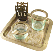 Fabulous Vaseline Glass Smoking Set with tray - brass fittings - scarce