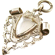 Lovely Edwardian Sterling Silver Ornate Shield Fob - English, 1910