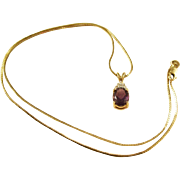 Estate Piece - Lovely Amethyst Teardrop Pendant - Diamond Accents and 14KT Gold Chain
