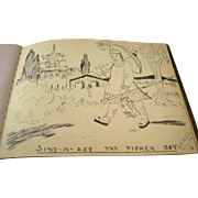 Charming English Autograph Album - 1930's - Drawings and Sayings