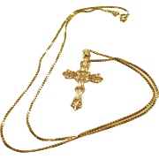 Lovely 14KT Gold Cross & Chain - Contemporary, yet Classic!