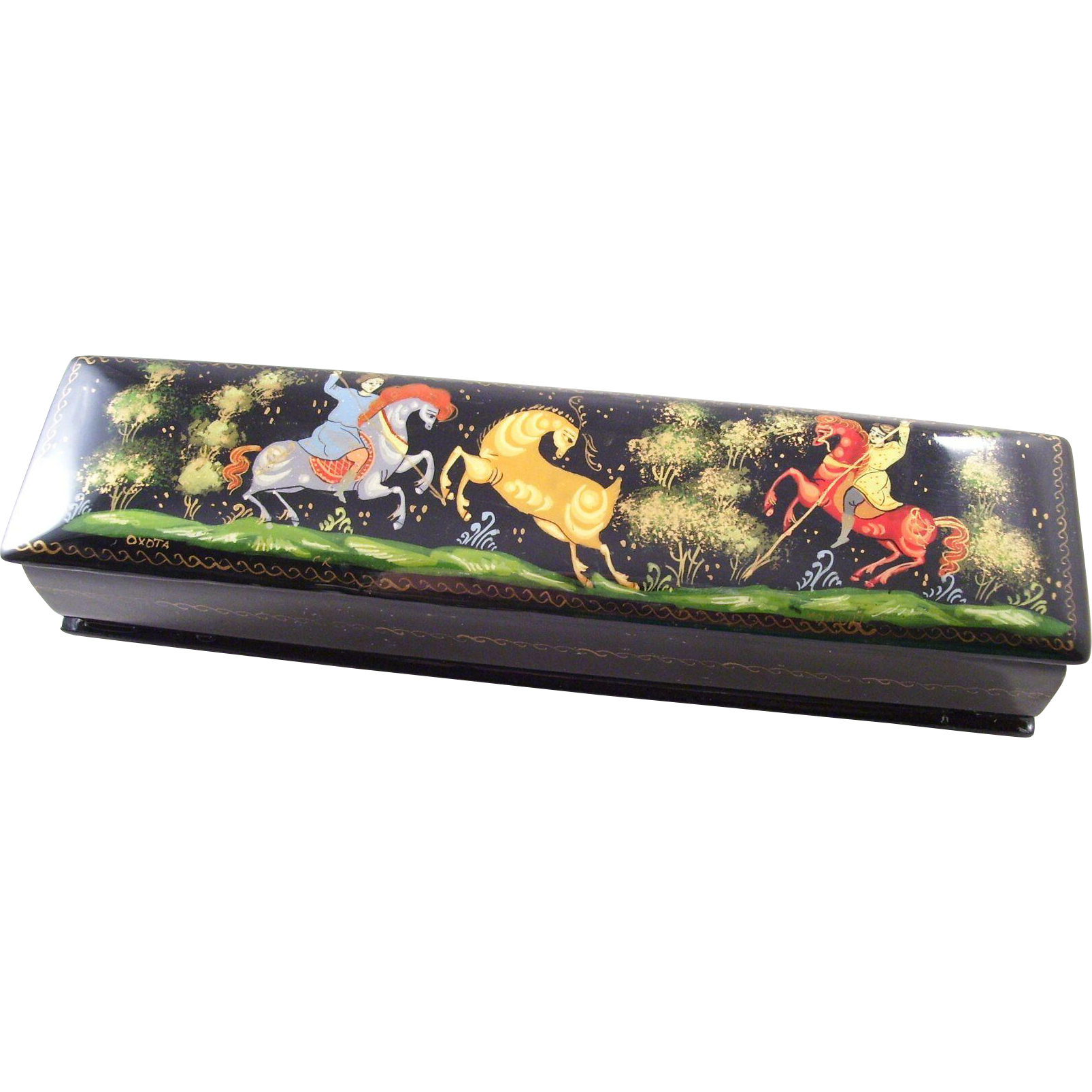 Russian Black Lacquer Fairy Tale Box - Golden Stag pencil box