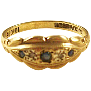 Antique Victorian 9kt gold ring - Sapphires and Diamonds - Gypsy style, 1899