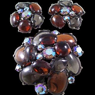 Schiaparelli Poured Glass Brooch & Earring Set - WOW