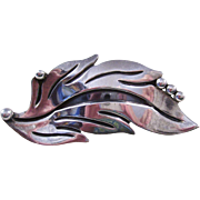 Maricella Mexican Sterling Silver Brooch - Leaf Design - 1950's