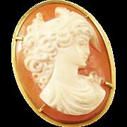 Sweet Carved Cameo brooch - 18kt gold mount
