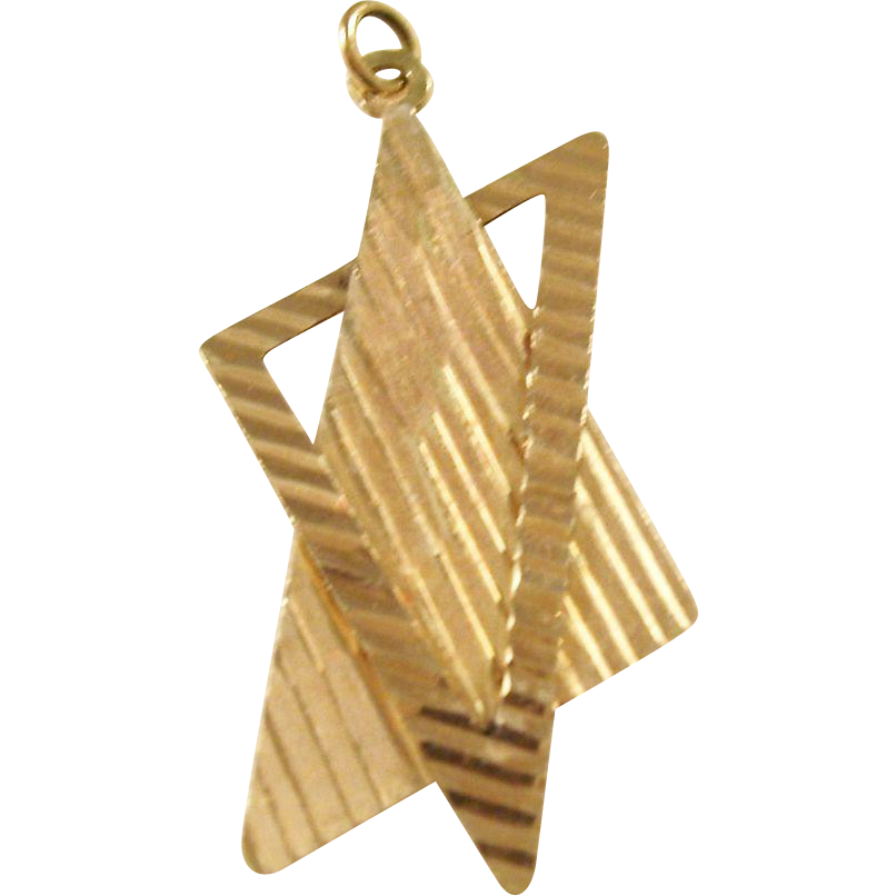 Vintage 14kt Star of David Pendant with Contemporary Styling - 1970's