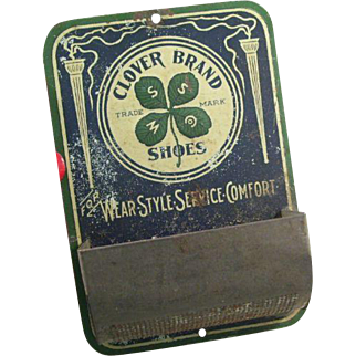 Great Clover Brand Shoes Advertising Tin Match Safe - early 20th century