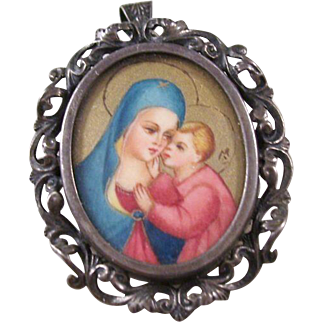 Charming Vintage 800 Silver Painted Madonna & Child Brooch/Pendant combo