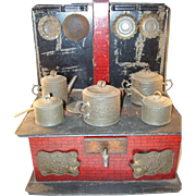 Charming Antique Child or Doll Tin Cook Stove with pots - complete