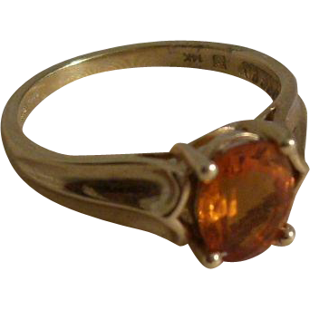 Vintage 14kt gold ring with Citrine - a classic - size 9