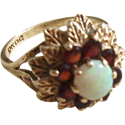 Vintage Opal and Garnet Ring 10kt gold - size 6.5