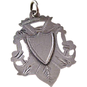 Sterling Silver Shield Watch Fob - English, hallmarked 1911