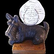 Whimsical Antique Scottie Scotty Dog Figural Menu Holder