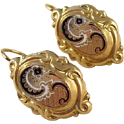 Exquisite Antique 12 kt Gold Cased French Enameled Earrings - ca. 1880