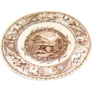 Lovely Aesthetic Brown Transferware Plate - English, ca 1880