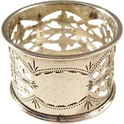 Antique English Sterling Silver Napkin Ring - Pierced Design, 1911