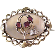 Victorian Garnet and Chalcedony Brooch - English, ca. 1890